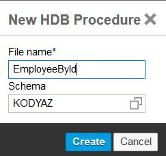create new .hdbprocedure