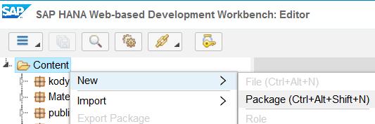create new package on SAP HANA database