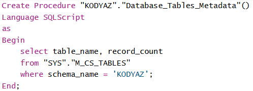 create procedure using SQLScript on SAP HANA database
