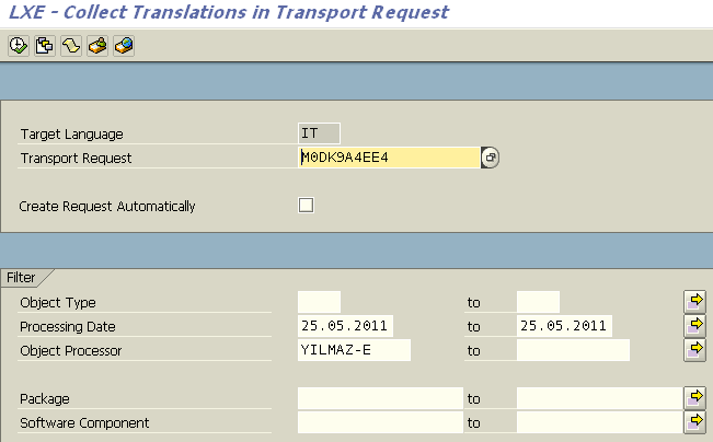 create request including translations in SAP