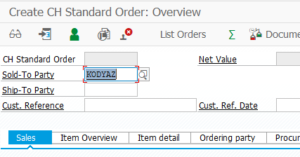 SAP VA01 Create Sales Order screen with predefined Sold-to Party customer