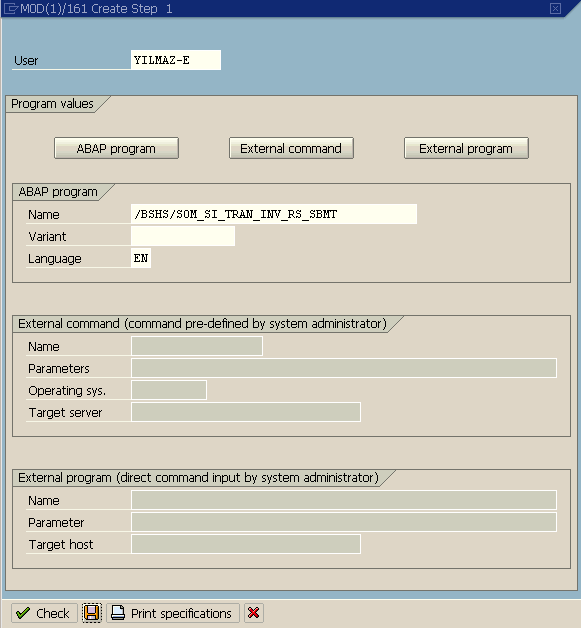 step detail in SAP job definition screen