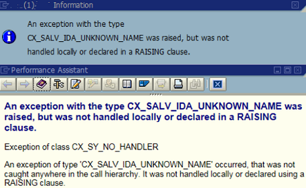 An exception with the type CX_SALV_IDA_UNKNOWN_NAME was raised