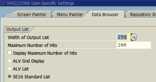 SAP Data Browser list type for ALV Grid display