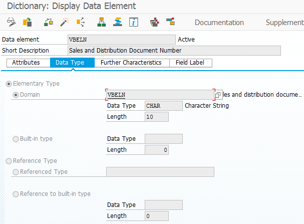 SE11 Data Dictionary object definition screen in SAP