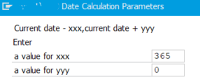 date calculation parameters for dynamic variant