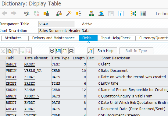 DDIC definition screen in ABAP with function module