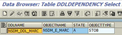 DDL source name of MARC table proxy object