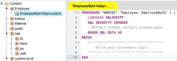 SAP HANA database procedure template