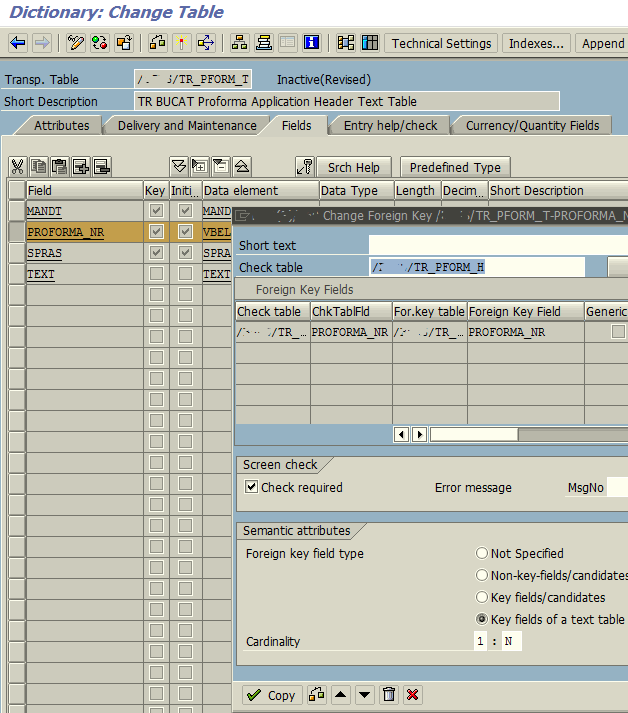 remove foreign key temporarily on ABAP table field