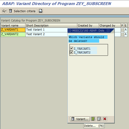 delete multiple variants of ABAP program