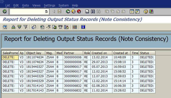 delete output message NAST entries using ABAP program