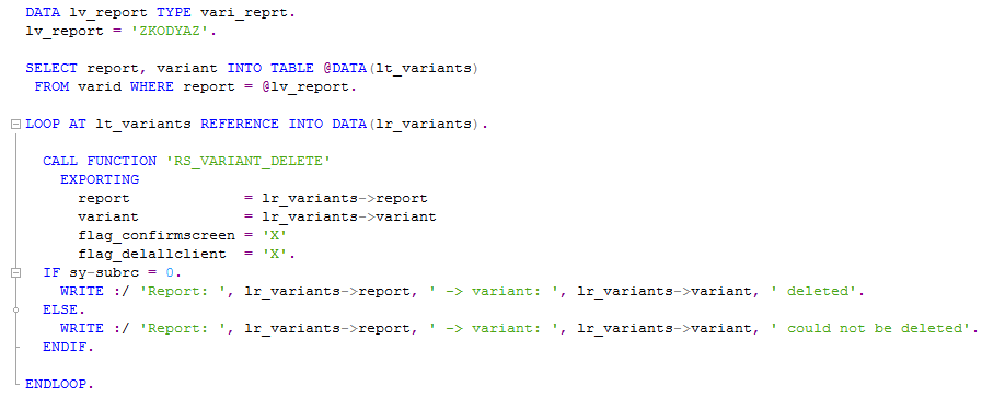 delete all variants of an ABAP program using code