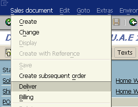 create delivery document from SAP sales order