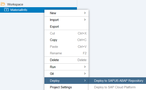 deploy Web IDE project to SAPUI5 ABAP repository