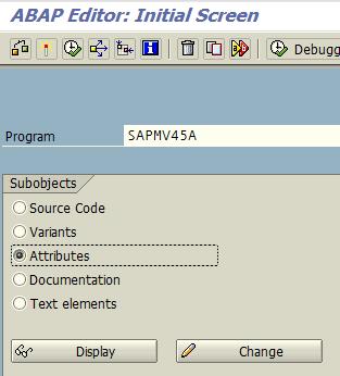 display ABAP program attributes