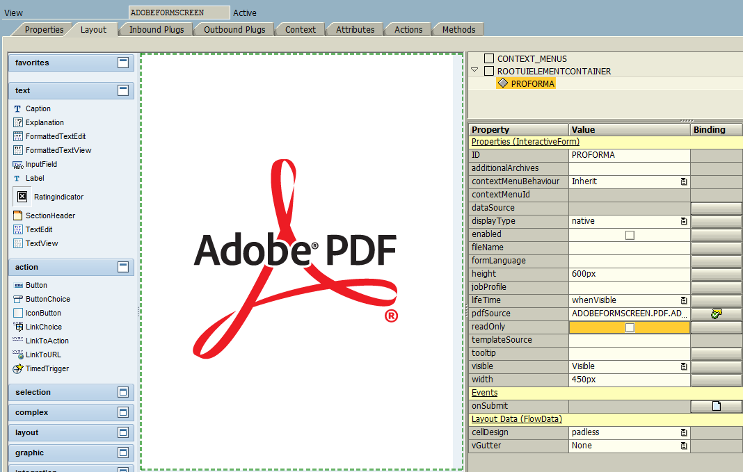 display Adobe Form PDF in SAP Web Dynpro layout