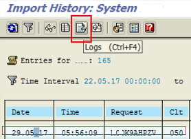 display transport request import logs in SAP