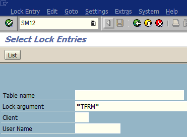 display lock entries using SAP SM12 transaction code