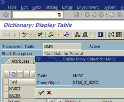 display proxy object for MARC SAP table on S/4HANA