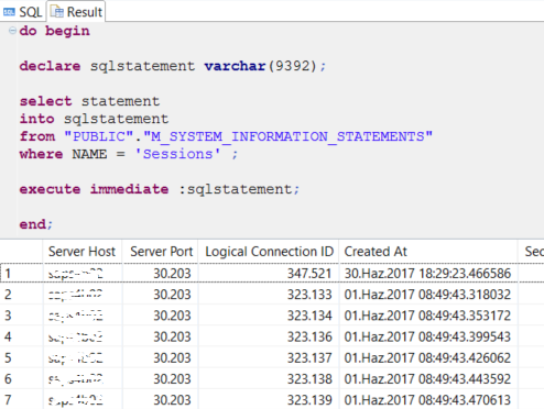 execute dynamic SQL statements stored in HANA database table