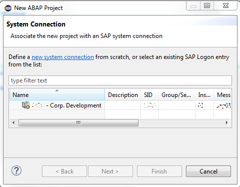 empty ABAP system connection list in Eclipse