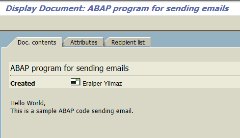 e-Mail created using ABAP code