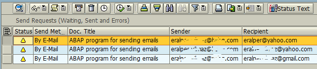 emails sent from SAP using ABAP program in SOST transaction