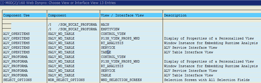choose among Web Dynpro view or interface views