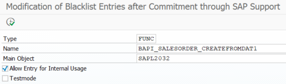 modify blacklist entries in SAP S4HANA