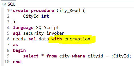 encrypt stored procedure on SAP HANA database using with encryption