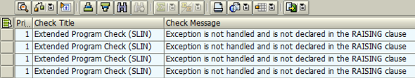 Exception is not handled and is not declared in the RAISING clause