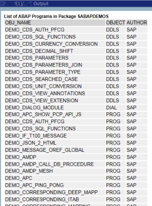 display list of ABAP programs in SAP package