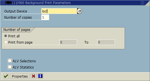 SAP print parameters for background execution