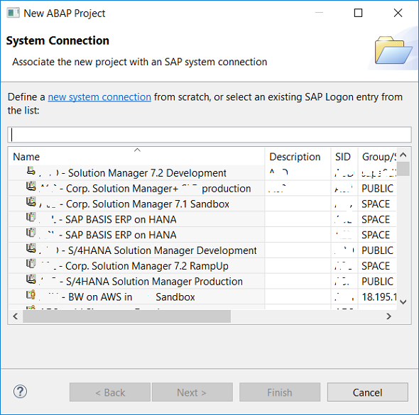 New ABAP Project in SAP HANA Studio ABAP Perspective