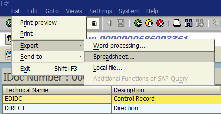 export IDoc document as Excel spreadsheet format within SAP WE02 transaction