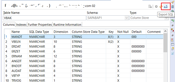 Export SQL for HANA database table Create DDL Statement