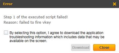 failed to fire vkey SAP Personas error