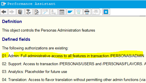 SAP authorization object field values list