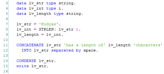 find string length using ABAP STRLEN function