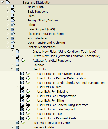 Sales and Distribution User Exit system modifications in SPRO tcode
