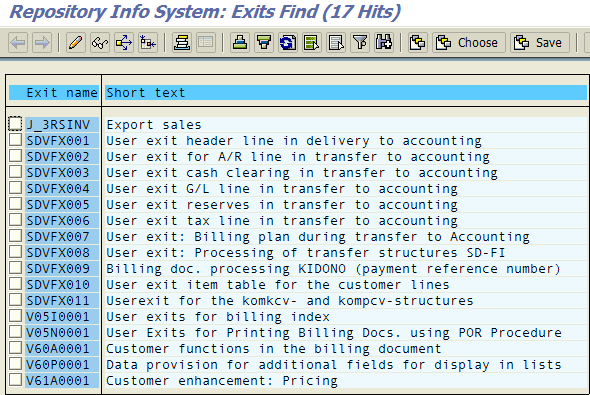 find user exits in ABAP program
