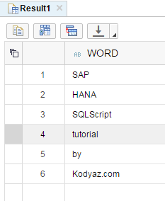 SQLScript to list words in string variable