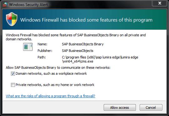 SAP Lumira Server for Teams firewall settings