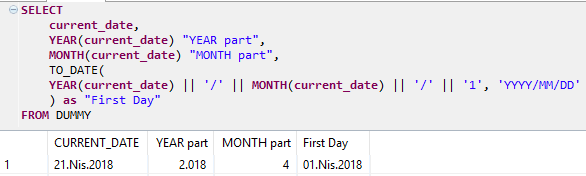 first day of month using SQLScript on HANA database