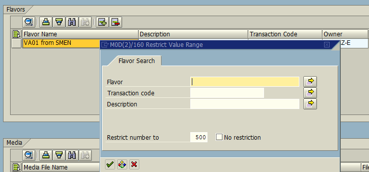 flavor search for export flavors in SAP search help