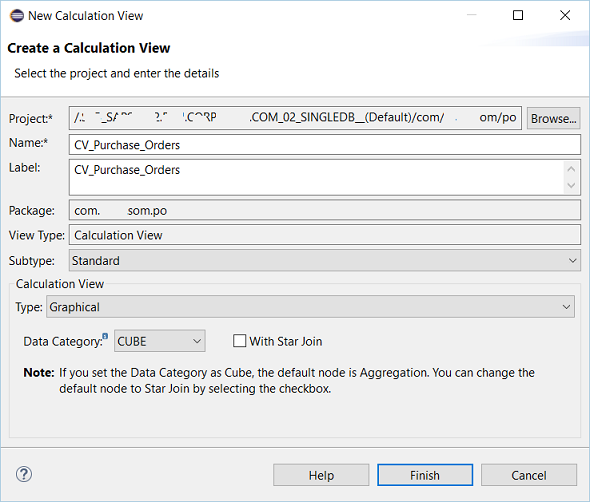SAP HANA calculation view definition