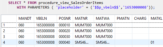 query HANA database procedure using SELECT statement
