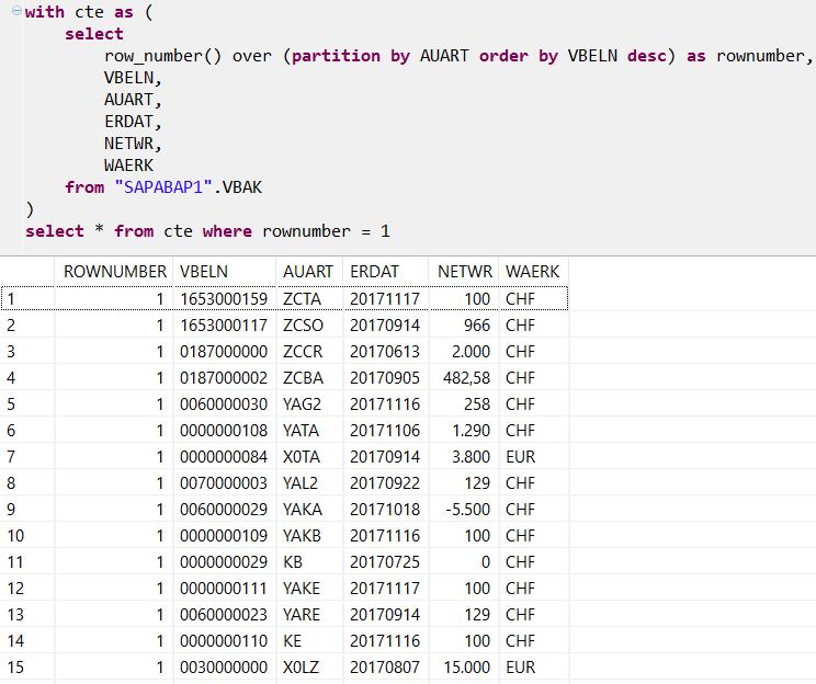 SAP HANA database SQL