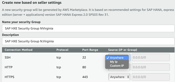 SAP HXE Security Group Settings